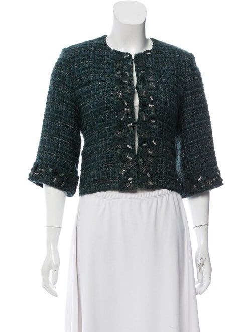 Chanel Tweed Cropped Jacket green