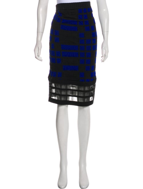 Chanel Quilted Knit Skirt Blue