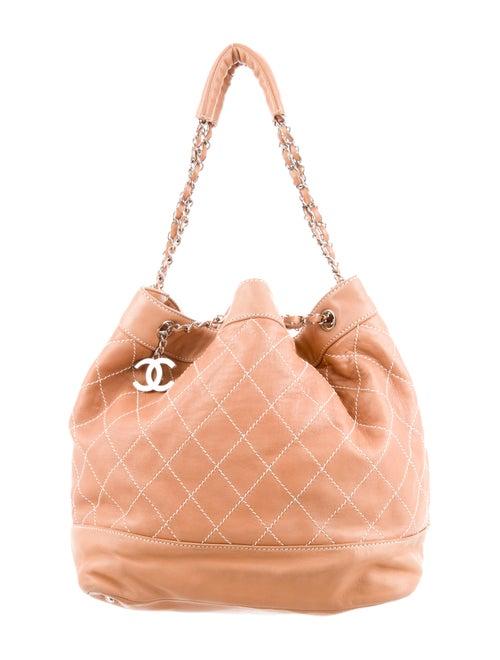 Chanel Surpique Drawstring Bucket Bag silver