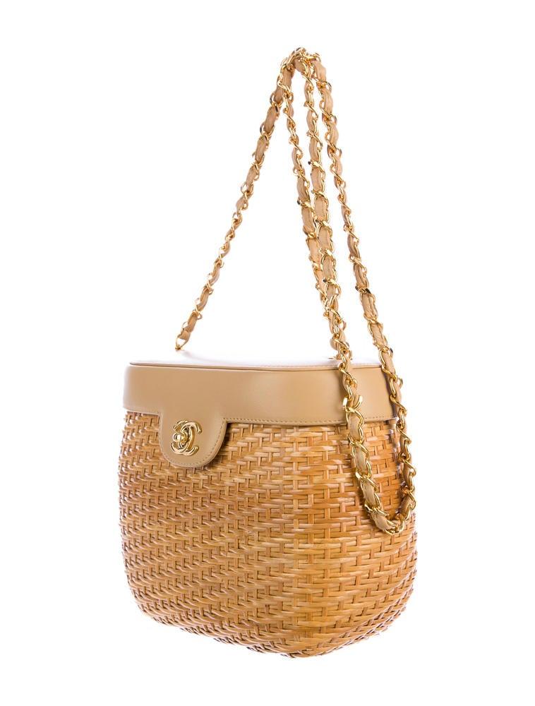 Wicker Basket Backpack : Chanel wicker basket bag handbags cha the realreal