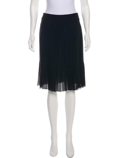 Chanel Pleated Silk Skirt Black