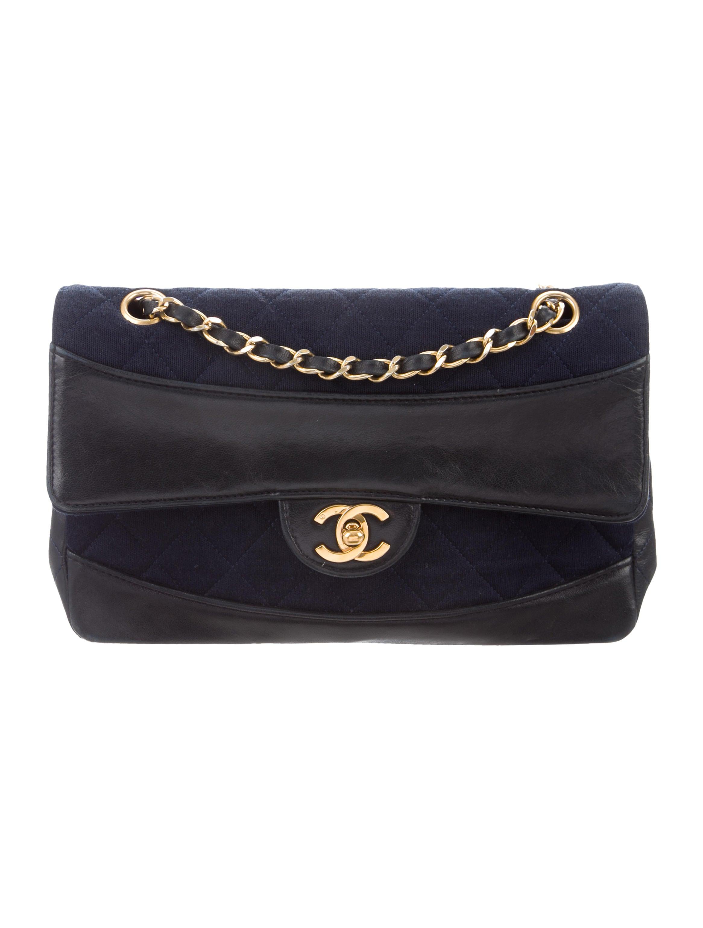 402382e3a4b8 Chanel Jersey and Leather Single Flap Bag - Handbags - CHA332661 ...