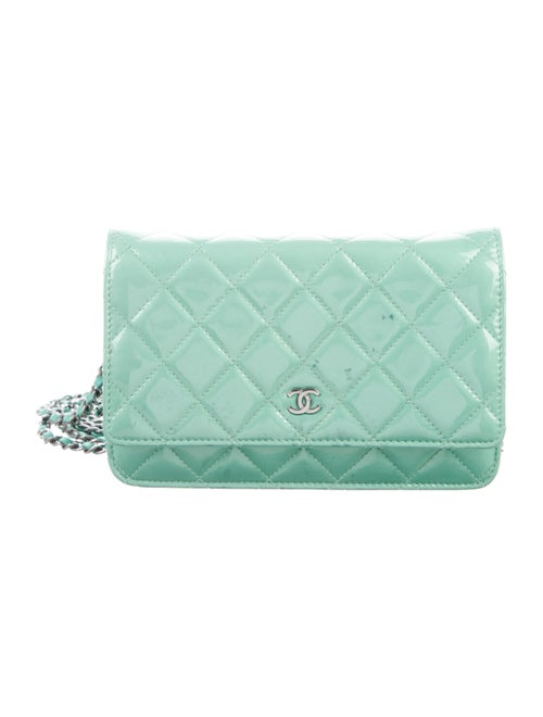 Chanel Patent Leather Wallet On Chain Lime