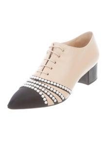 1ba587324c9 Chanel. Leather Embellished Oxfords. Size  US ...