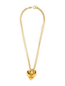 891ef3547478 Chanel. Vintage Large CC Heart Pendant Necklace