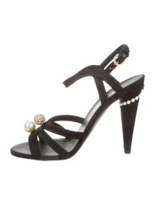 90629dbb926 Chanel. Satin Ankle Strap Sandals ...