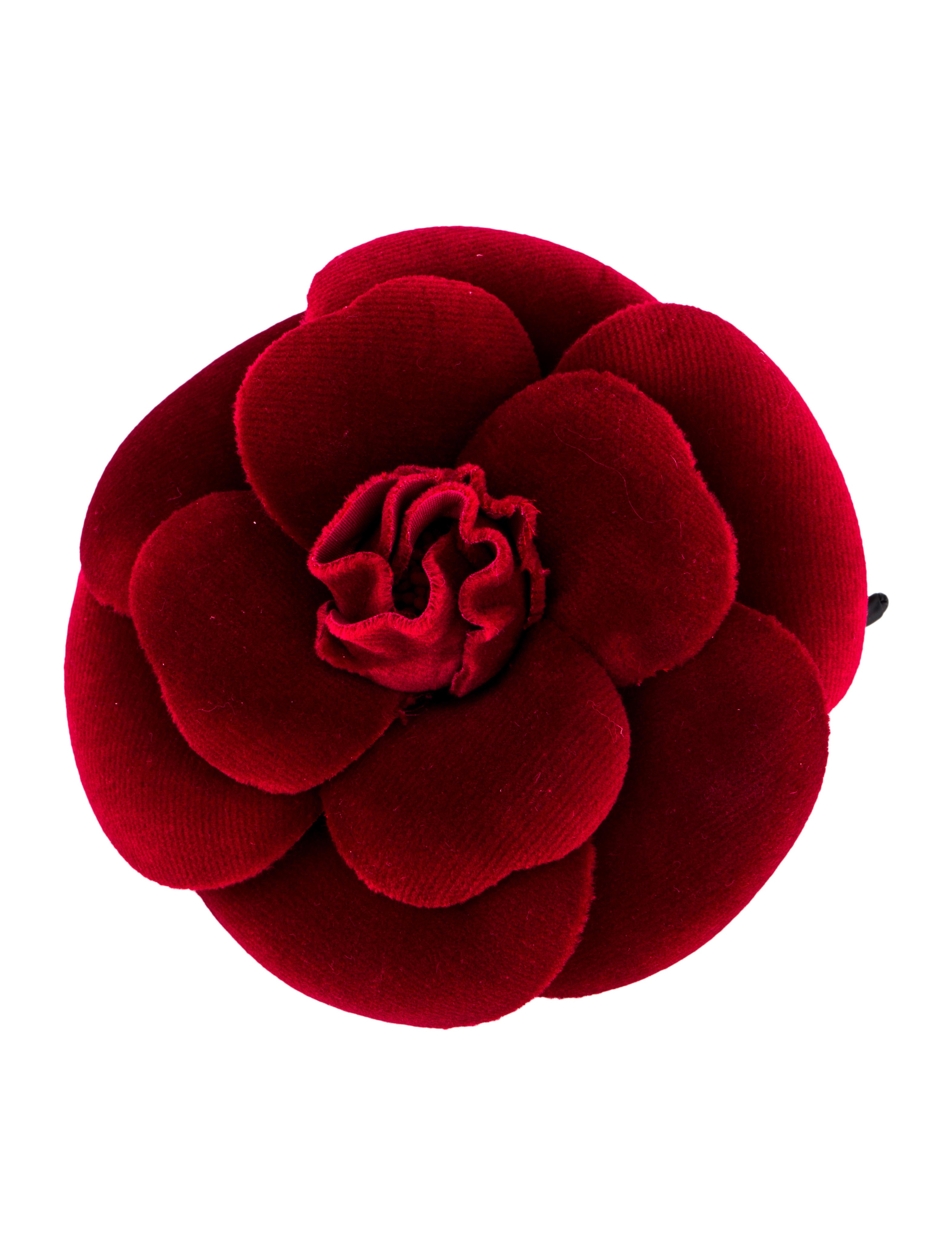 8def632c09a Chanel Velvet Camellia Brooch - Brooches - CHA342777