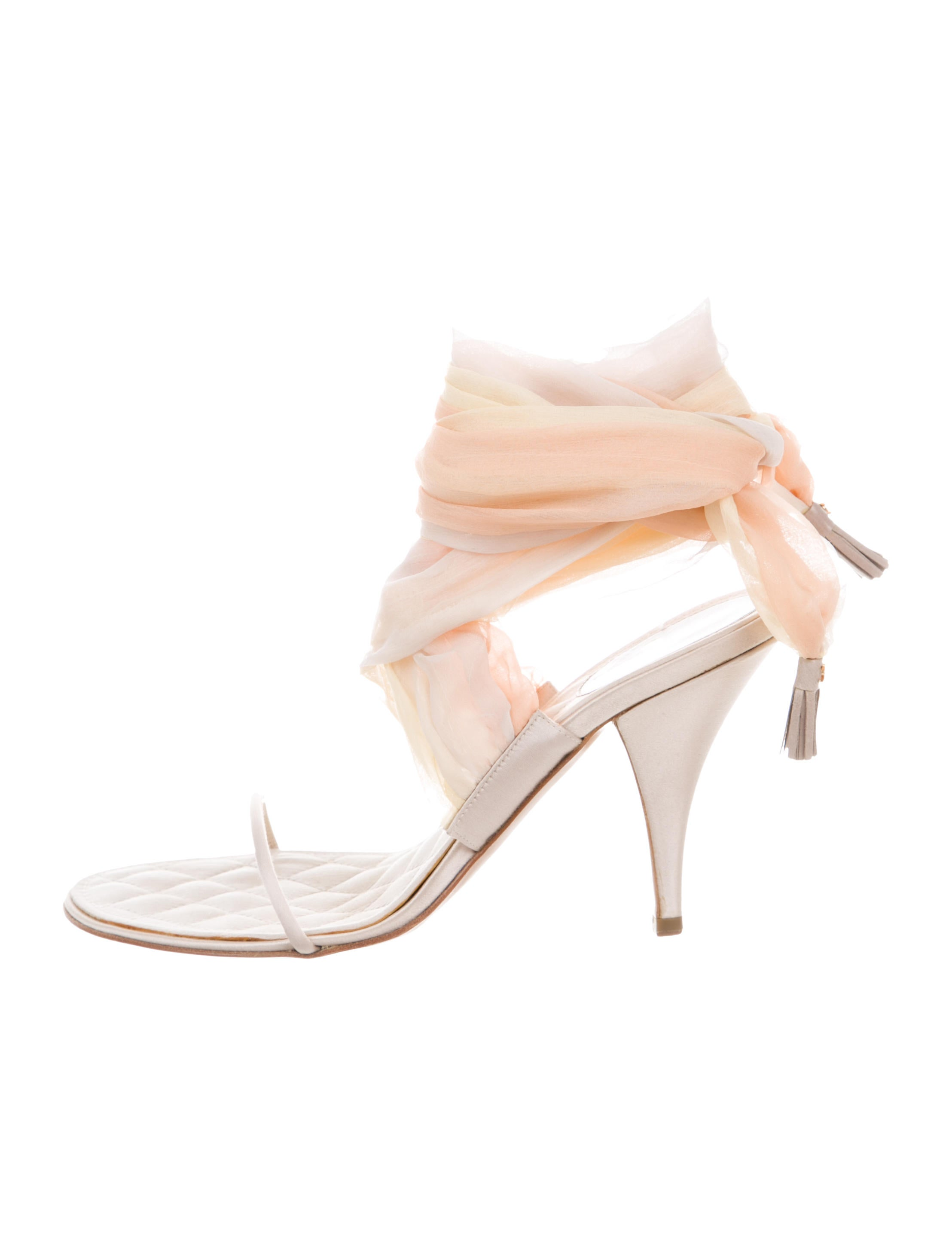 3d47f7bb4266 Chanel Satin Lace-Up Sandals - Shoes - CHA343633