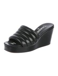 331f6df98b70 Chanel. Leather Slide Wedges