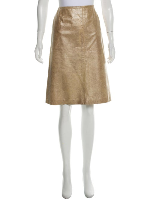 Chanel Metallic Leather Skirt Metallic