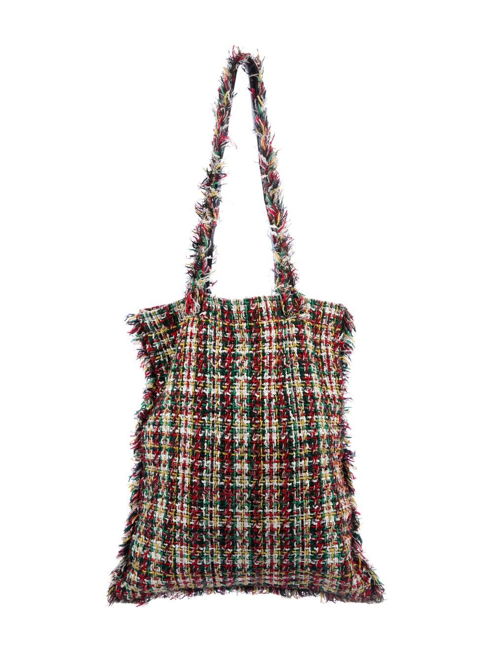 Chanel 2017 Large Tweed Shopping Bag Green - image 4