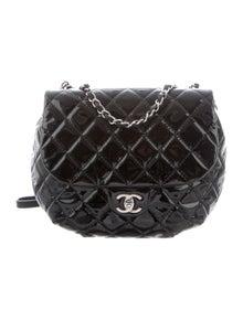 ec0587e3e65d Chanel. Patent Quilted Medium Bubble CC Flap