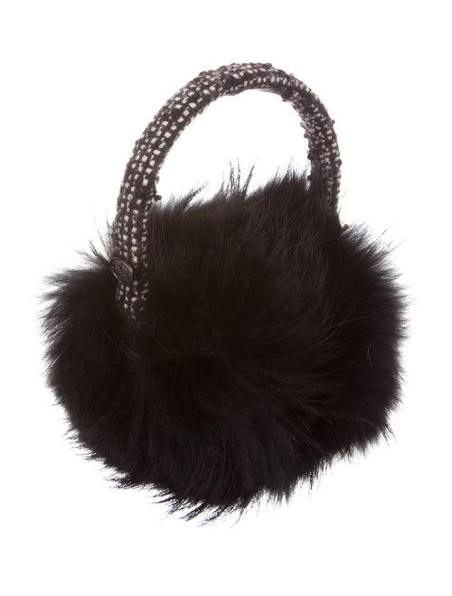 Chanel Tweed Fur-Trimmed Earmuffs Black