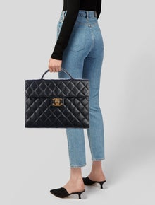 39fe7035698 Chanel. Vintage Quilted Caviar Briefcase
