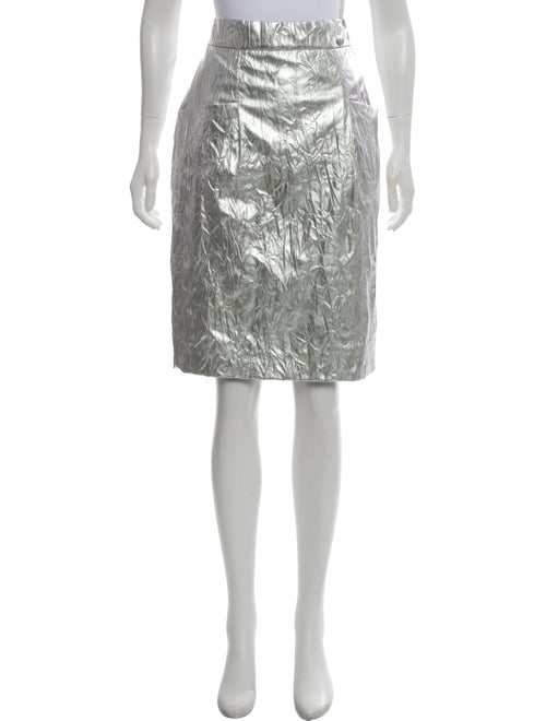 Chanel Metallic Pencil Skirt Metallic