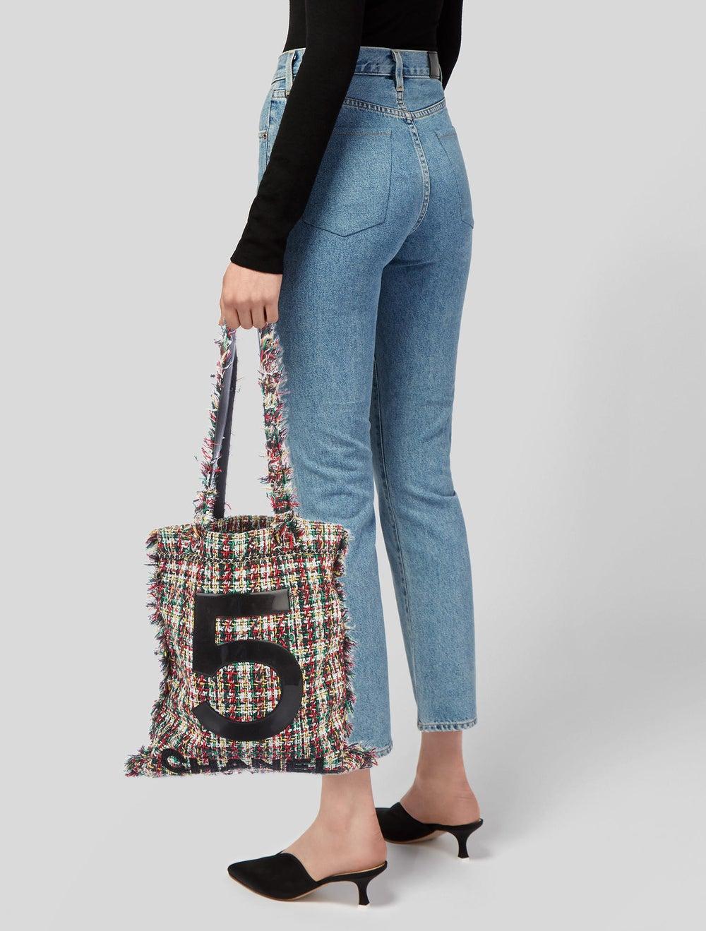 Chanel 2017 Large Tweed Shopping Bag White - image 2