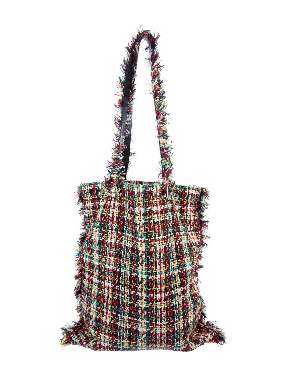 Chanel 2017 Large Tweed Shopping Bag White - image 4