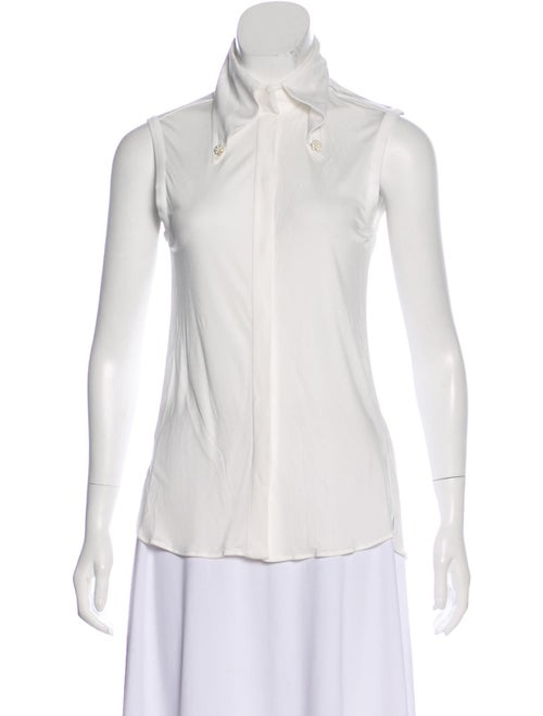 Chanel Sleeveless Collared Top White