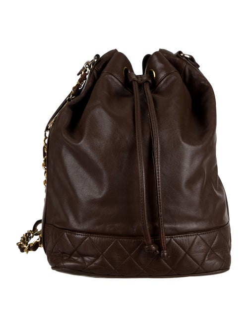 Chanel Vintage Quilted Bucket Bag Brown