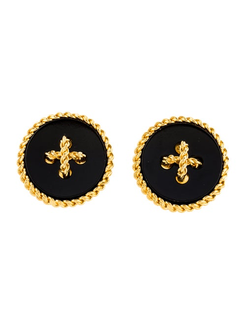 Chanel Vintage Button Clip-On Earrings Gold