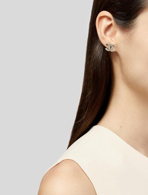 13698d0f5f3a1 Chanel Faux Pearl CC Logo Stud Earrings - Earrings - CHA379371 | The ...