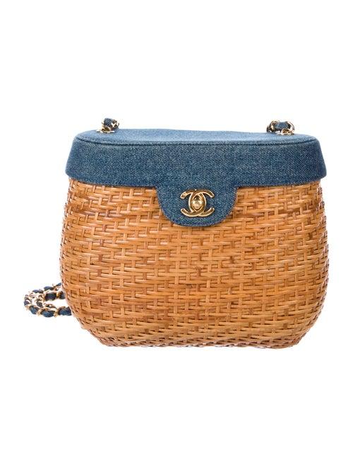 Vintage Denim Wicker Basket Bag by Chanel