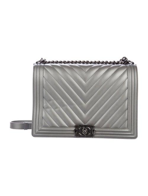 Chanel Large Chevron Boy Bag Metallic