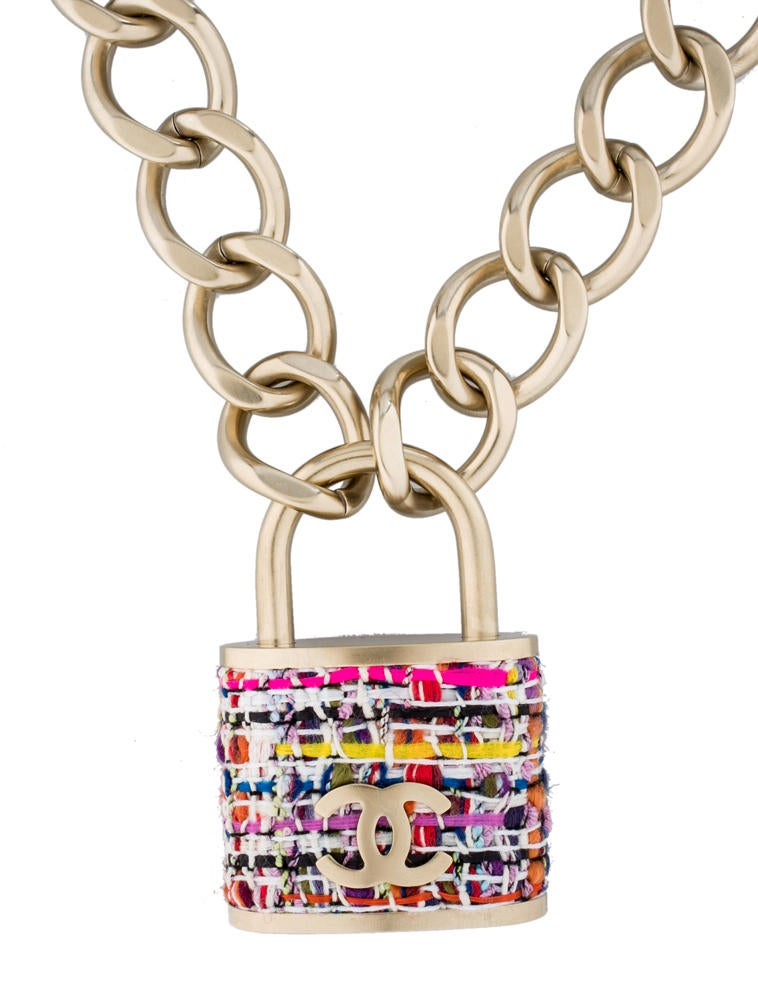 Chanel Small Tweed Padlock Necklace Necklaces Cha39399