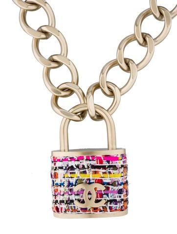 Small Tweed Padlock Necklace