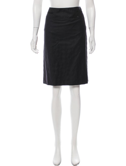 Chanel Wool Quilted Skirt Black