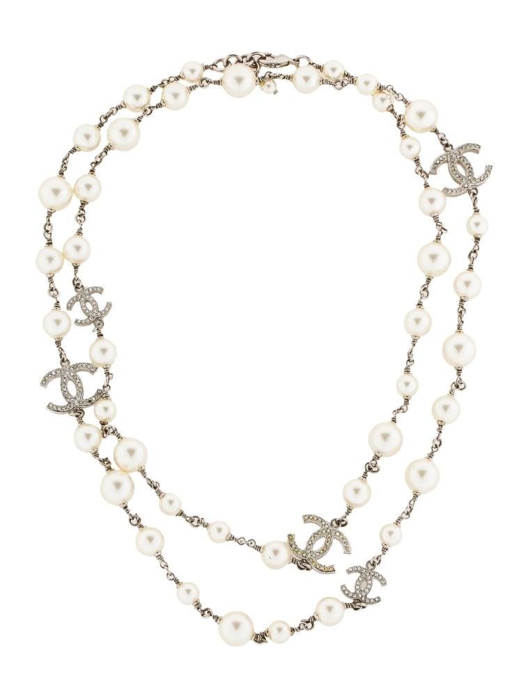 chanel faux pearl cc station necklace necklaces. Black Bedroom Furniture Sets. Home Design Ideas