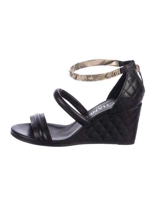 Chanel Leather Ankle Strap Wedges Black
