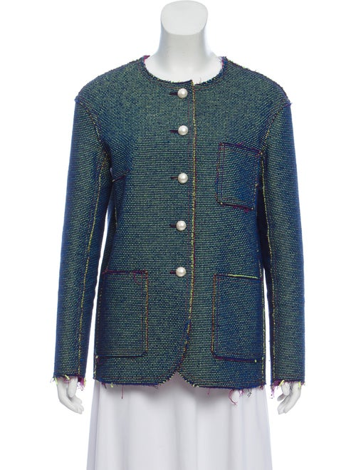 Chanel Tweed Collarless Jacket lime