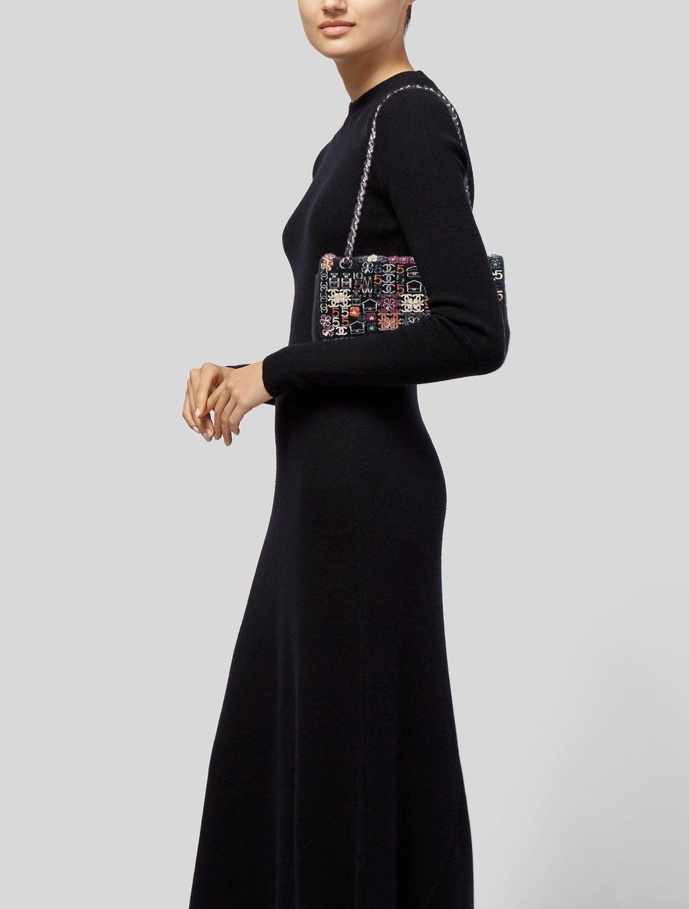 Chanel Enamel Jeweled Tweed Flap Bag Black - image 2