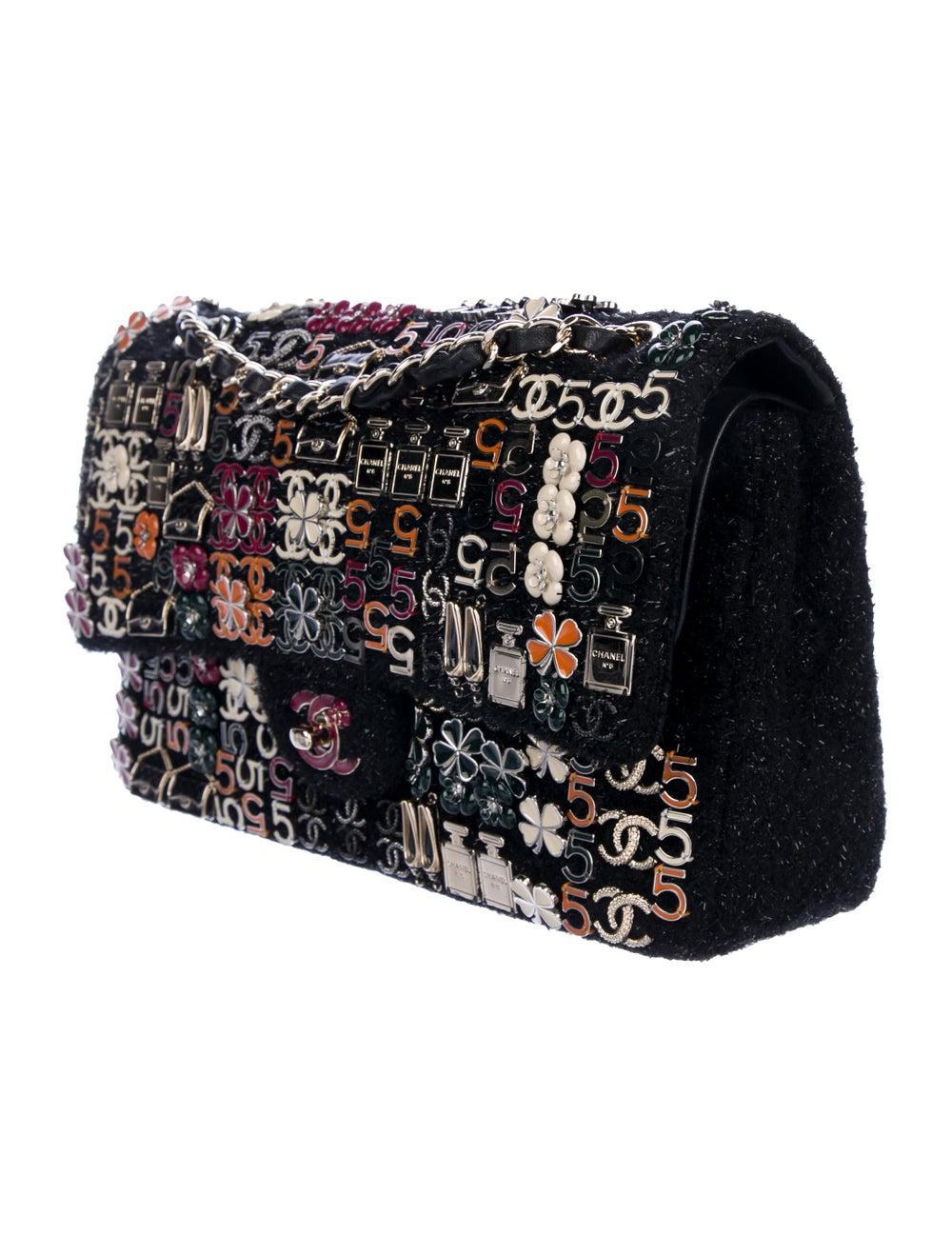Chanel Enamel Jeweled Tweed Flap Bag Black - image 3