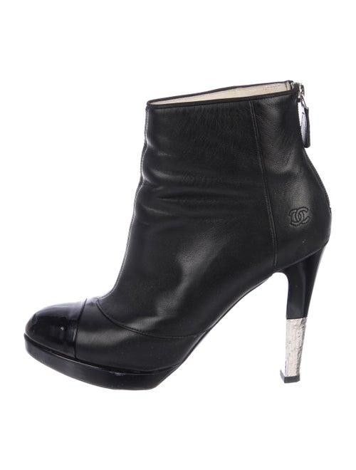 Chanel Platform CC Ankle Boots Black