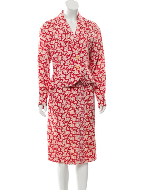 Chanel Linen Skirt Suit Red