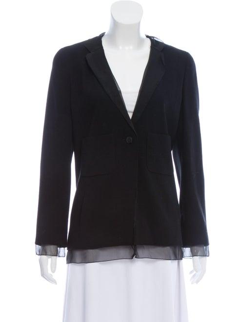 Chanel Wool Collarless Blazer Black