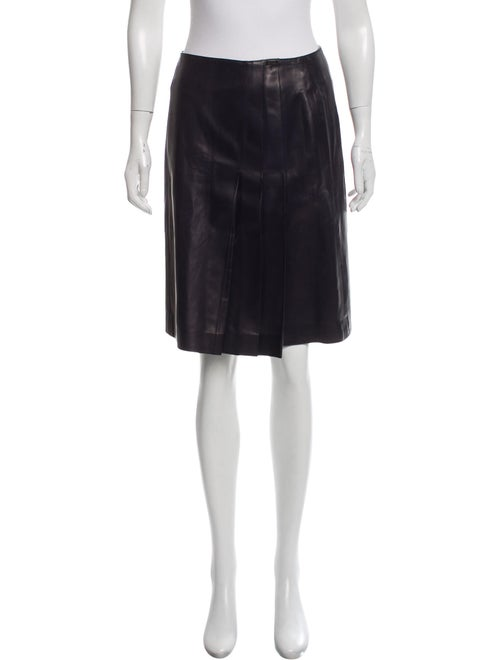 Chanel Pleated Leather Skirt Navy