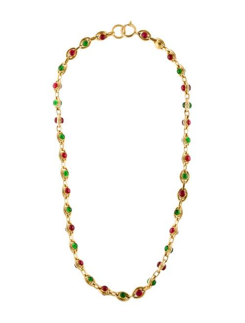 Chanel Vintage Gripoix Station Necklace Gold
