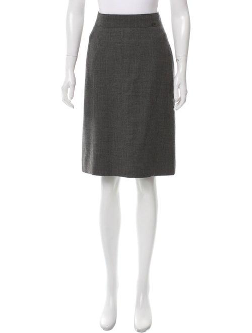 Chanel Vintage Wool & Silk Pencil Skirt Grey