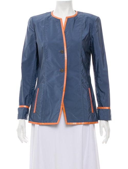 Chanel Mandarin Collar Lightweight Jacket blue
