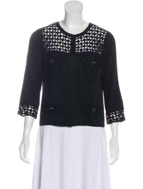 Chanel Crochet-Paneled Knit Cardigan Black