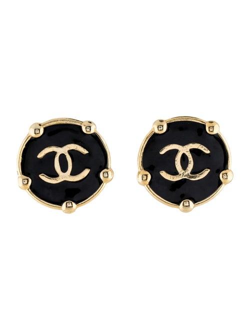 Chanel Vintage Enamel CC Clip-On Earrings Gold