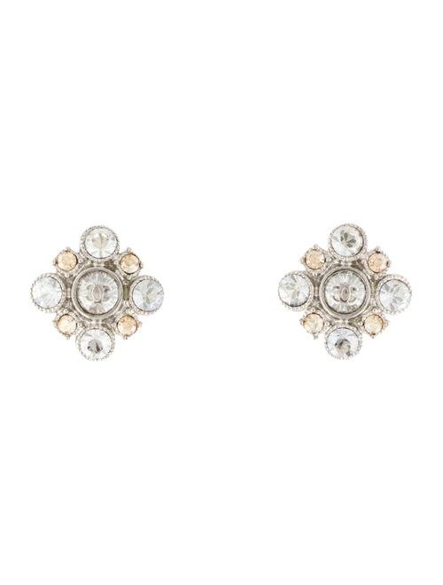 Chanel Strass CC Logo Stud Earrings Silver