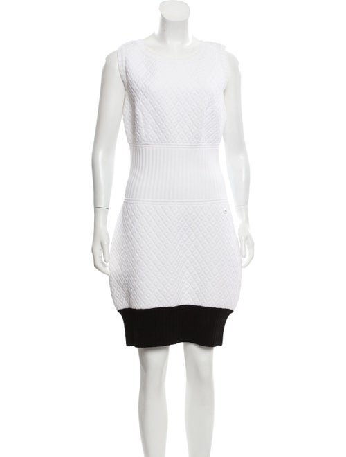 Chanel Quilted Sleeveless Dress White