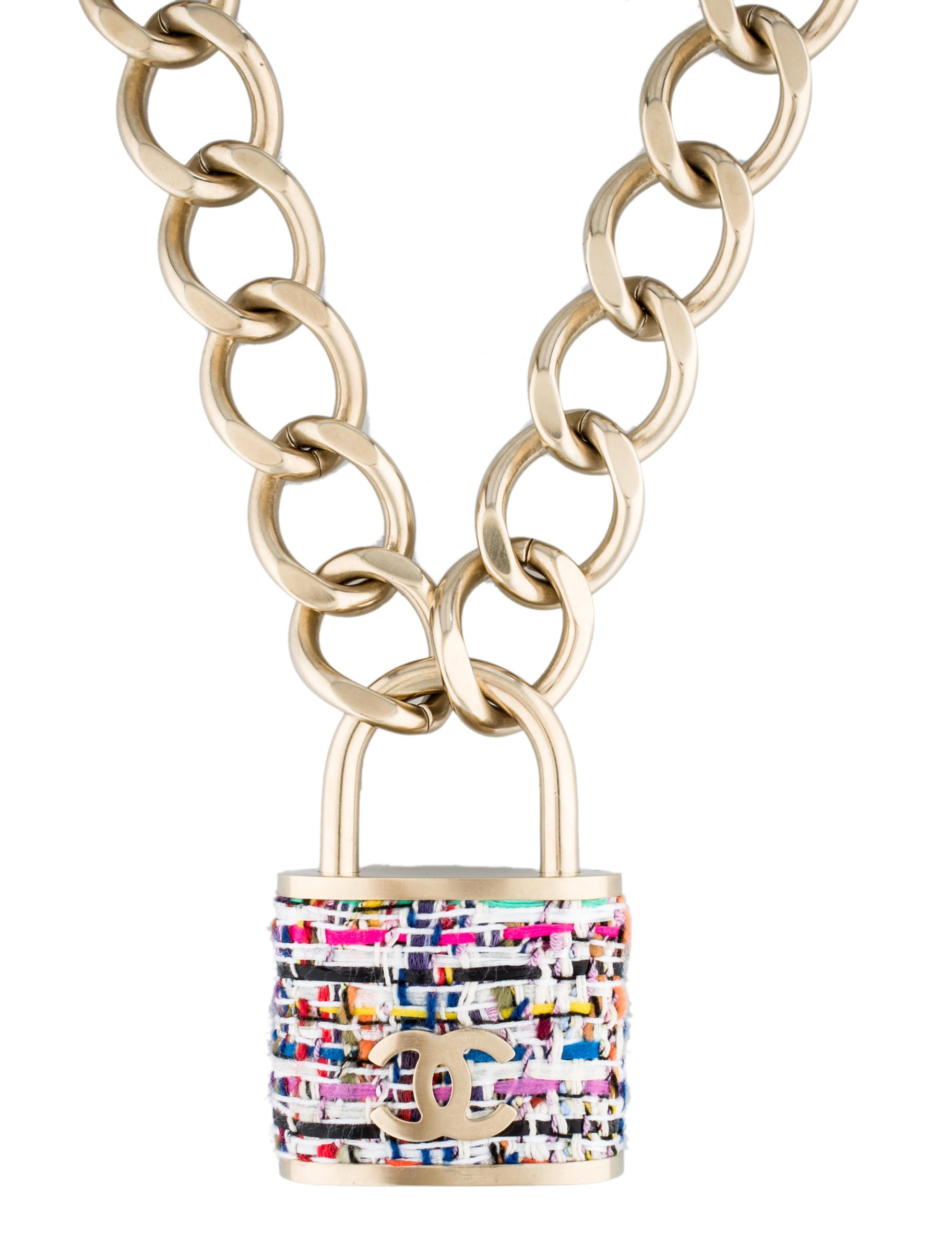 Chanel Tweed Padlock Necklace Necklaces Cha44295 The