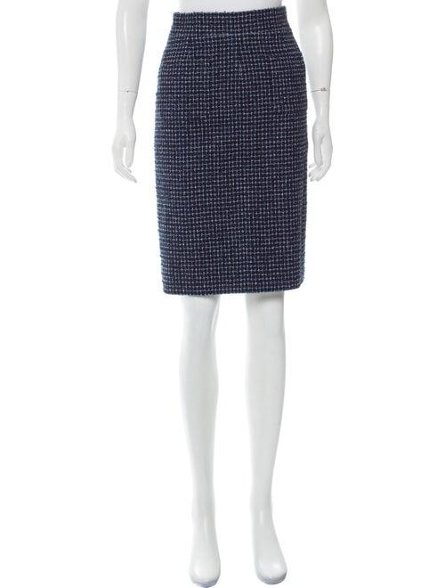 Chanel Tweed Pencil Skirt Blue