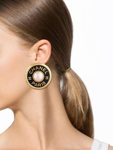 Large Pearl CC Earrings