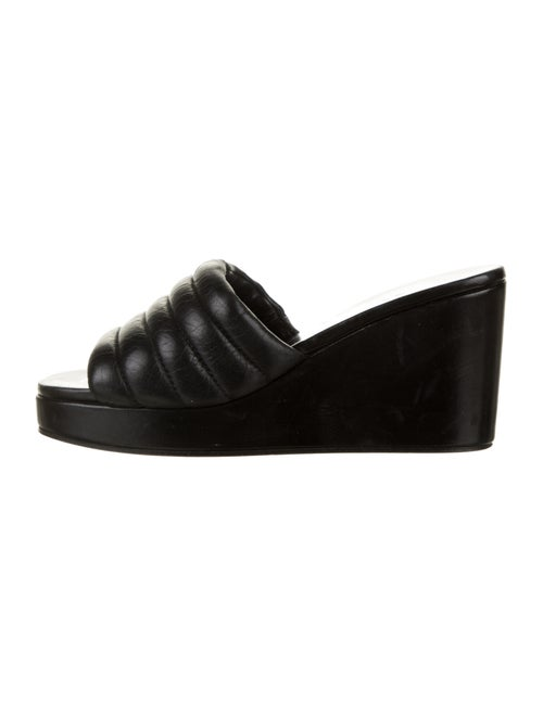 Chanel Quilted Leather Slide Wedges Black